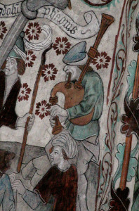 15th century bagpipe painting in Härkeberga Church (photo Olle Gällmo)