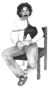The author and his pipes (drawing Paul Johnson)