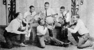 The Dixieland Jug Blowers. Earl McDonald poses with jug in center.